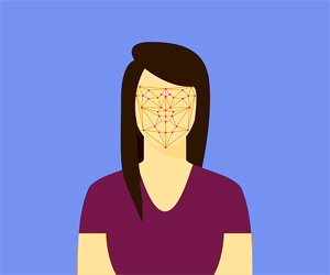 Graphical depiction of woman with facial landmarks connected by lines on face