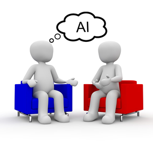 """Two people sitting in chairs with """"AI"""" in word bubble"""