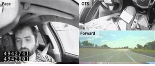 Camera image of driver's face, driving position, and road ahead
