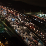 A congested highway at nighttime