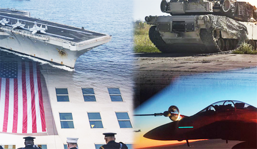 A mashup of military-themed images including carrier, tank, jet, and flag