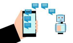 A graphical depiction of a chatbot conversation on a smartphone