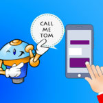 A cartoonish chatbot named Tom next to a smartphone depicting a chatbot session
