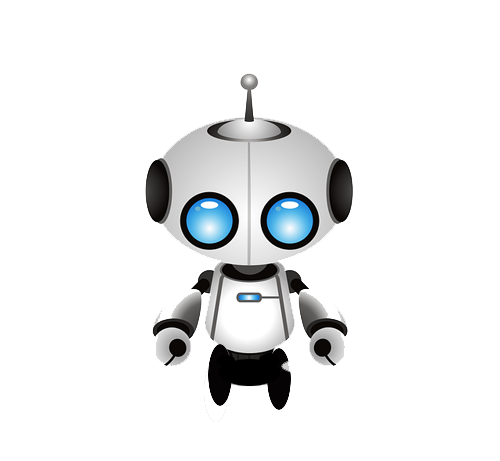 A graphic of a cute robot having oversized blue eyes and extending antenna