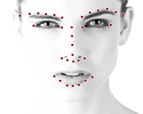 Woman's face with landmarks used in facial recognition