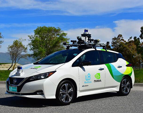 A Leaf vehicle equipped with sensors for enabling autonomous driving